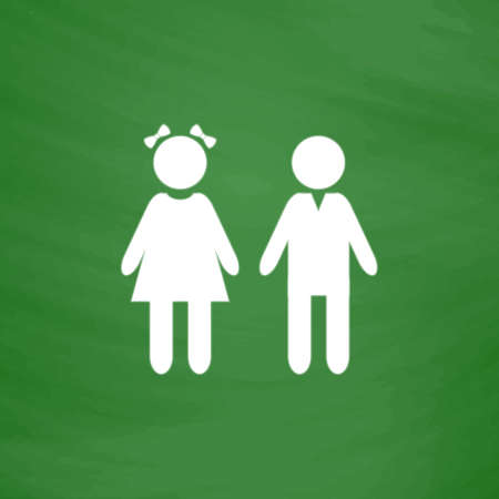 doughter: Girl and boy. Flat Icon. Imitation draw with white chalk on green chalkboard. Flat Pictogram and School board background. Vector illustration symbol