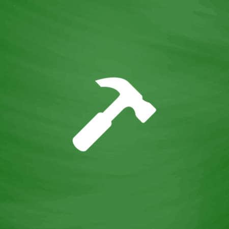 Simple Hammer. Flat Icon. Imitation draw with white chalk on green chalkboard. Flat Pictogram and School board background. Vector illustration symbol