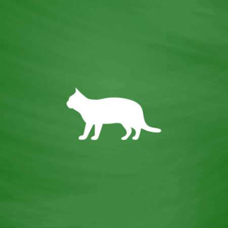 tomcat: Silhouettes of cat. Flat Icon. Imitation draw with white chalk on green chalkboard. Flat Pictogram and School board background. Vector illustration symbol Illustration