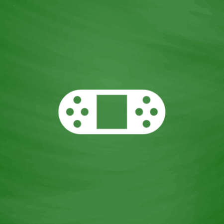 portable console: Portable Video Game Console. Flat Icon. Imitation draw with white chalk on green chalkboard. Flat Pictogram and School board background. Vector illustration symbol Illustration