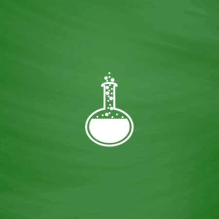Chemistry bulb. Flat Icon. Imitation draw with white chalk on green chalkboard. Flat Pictogram and School board background. Vector illustration symbol Illustration