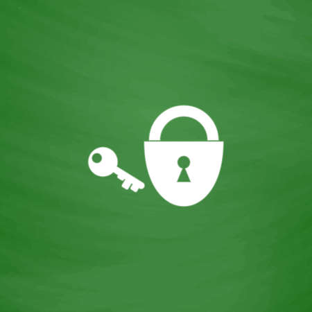 passkey: Padlock and key. Flat Icon. Imitation draw with white chalk on green chalkboard. Flat Pictogram and School board background. Vector illustration symbol