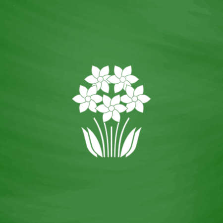 Bush Flower. Flat Icon. Imitation draw with white chalk on green chalkboard. Flat Pictogram and School board background. Vector illustration symbol