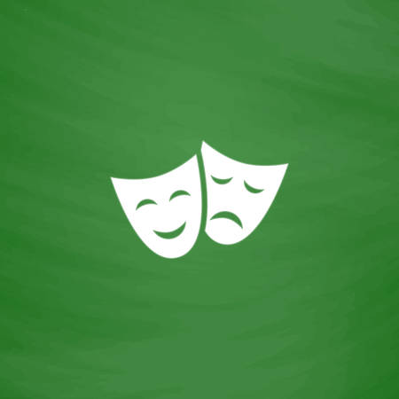 theater masks: Happy and sad Theater masks. Flat Icon. Imitation draw with white chalk on green chalkboard. Flat Pictogram and School board background. Vector illustration symbol