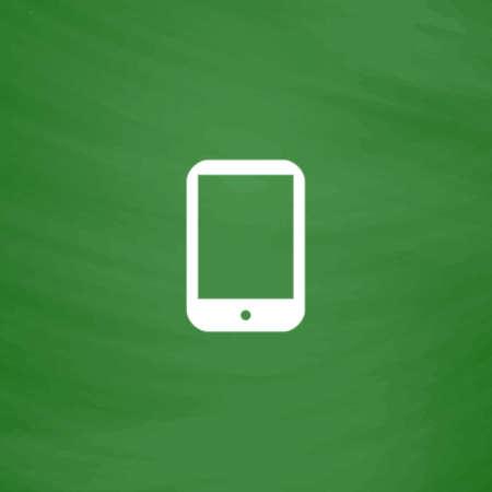 simbol: Moderno tablet PC digitale. Icona piatto. Imitazione disegnare con il gesso bianco su lavagna verde. Pittogramma di appartamenti e scuola board background. Illustrazione vettoriale simbolo