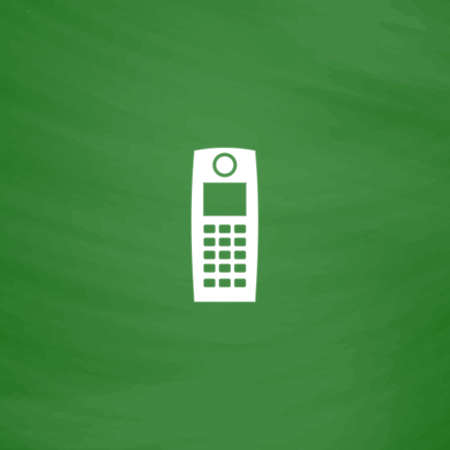 speakerphone: Retro mobile phone. Flat Icon. Imitation draw with white chalk on green chalkboard. Flat Pictogram and School board background. Vector illustration symbol