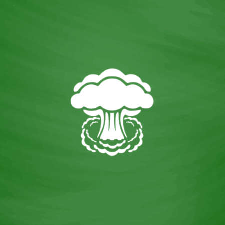 mushroom cloud: Mushroom cloud, nuclear explosion, silhouette. Flat Icon. Imitation draw with white chalk on green chalkboard. Flat Pictogram and School board background. Vector illustration symbol