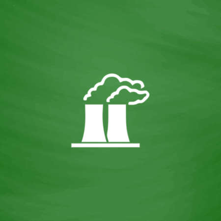 Factory or plant. Flat Icon. Imitation draw with white chalk on green chalkboard. Flat Pictogram and School board background. Vector illustration symbol