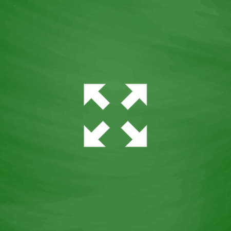 luster: Arrows in four directions. Flat Icon. Imitation draw with white chalk on green chalkboard. Flat Pictogram and School board background. Vector illustration symbol Illustration