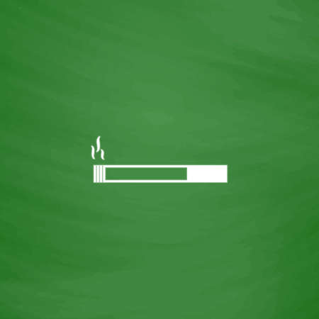 smoking place: Smoking cigarette. Flat Icon. Imitation draw with white chalk on green chalkboard. Flat Pictogram and School board background. Vector illustration symbol