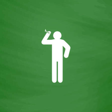 desperation: Man with a cigarette. Flat Icon. Imitation draw with white chalk on green chalkboard. Flat Pictogram and School board background. Vector illustration symbol