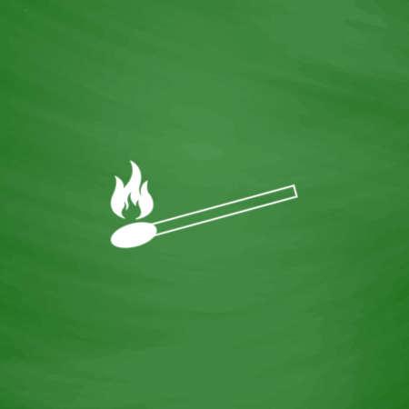 extinguishing: Match. Flat Icon. Imitation draw with white chalk on green chalkboard. Flat Pictogram and School board background. Vector illustration symbol Illustration