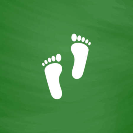 Footprint. Flat Icon. Imitation draw with white chalk on green chalkboard. Flat Pictogram and School board background. Vector illustration symbol