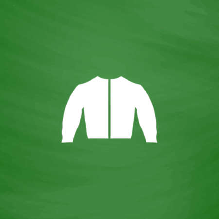 fur hood: Sports jacket. Flat Icon. Imitation draw with white chalk on green chalkboard. Flat Pictogram and School board background. Vector illustration symbol Illustration