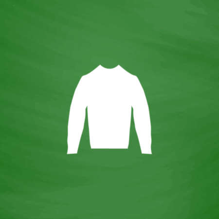 buttoned: Clothing sweater Pictogram. Flat Icon. Imitation draw with white chalk on green chalkboard. Flat Pictogram and School board background. Vector illustration symbol