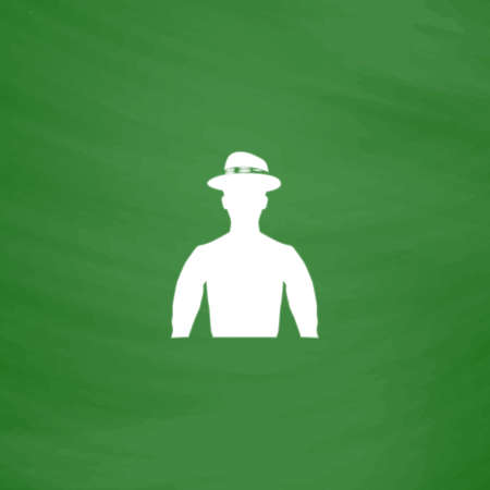 head shoulders: Cowboy. Flat Icon. Imitation draw with white chalk on green chalkboard. Flat Pictogram and School board background. Vector illustration symbol