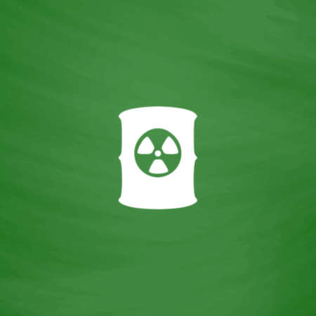 radioactive symbol: Container with radioactive waste. Flat Icon. Imitation draw with white chalk on green chalkboard. Flat Pictogram and School board background. Vector illustration symbol