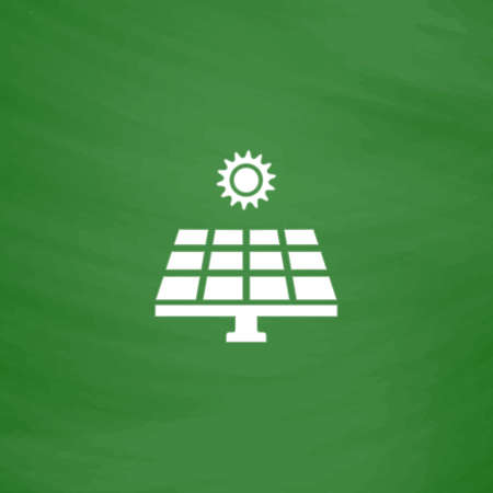 electricity meter: Solar energy panel. Flat Icon. Imitation draw with white chalk on green chalkboard. Flat Pictogram and School board background. Vector illustration symbol