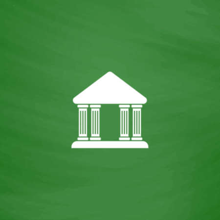 governmental: Court building. Flat Icon. Imitation draw with white chalk on green chalkboard. Flat Pictogram and School board background. Vector illustration symbol