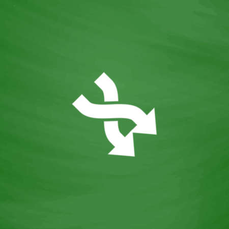 opposing: Arrow in Arrow. Flat Icon. Imitation draw with white chalk on green chalkboard. Flat Pictogram and School board background. Vector illustration symbol