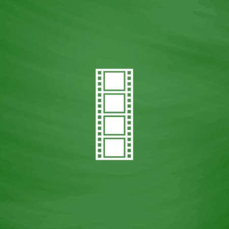 cinematographic: Cinematographic film. Flat Icon. Imitation draw with white chalk on green chalkboard. Flat Pictogram and School board background. Vector illustration symbol Illustration