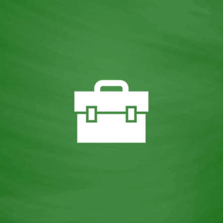 1 school bag: Briefcase. Flat Icon. Imitation draw with white chalk on green chalkboard. Flat Pictogram and School board background. Vector illustration symbol Illustration