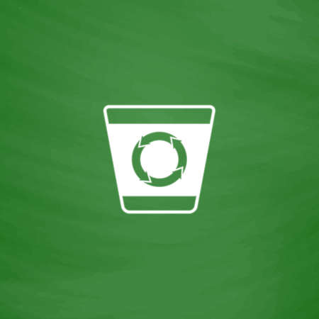 refuse bin: Recycle bin. Flat Icon. Imitation draw with white chalk on green chalkboard. Flat Pictogram and School board background. Vector illustration symbol