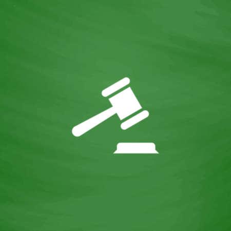 Judge gavel. Flat Icon. Imitation draw with white chalk on green chalkboard. Flat Pictogram and School board background. Vector illustration symbol Illustration