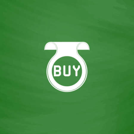 price uncertainty: Bookmark with Buy message. Flat Icon. Imitation draw with white chalk on green chalkboard. Flat Pictogram and School board background. Vector illustration symbol