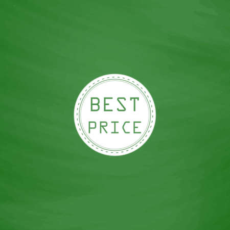 price uncertainty: Best Price Badge Label or Sticker. Flat Icon. Imitation draw with white chalk on green chalkboard. Flat Pictogram and School board background. Vector illustration symbol Illustration