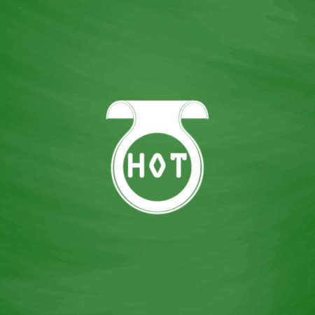 price uncertainty: Bookmark with Hot message. Flat Icon. Imitation draw with white chalk on green chalkboard. Flat Pictogram and School board background. Vector illustration symbol Illustration