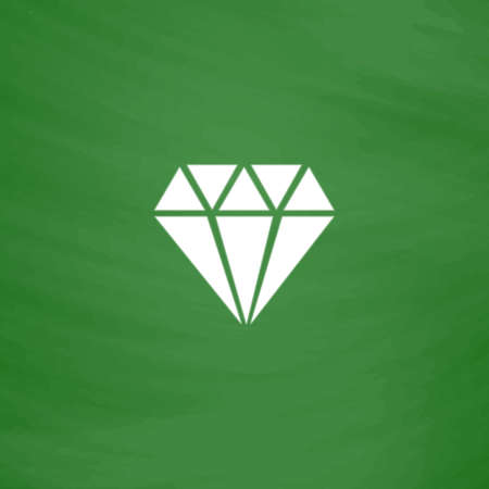 Diamond. Flat Icon. Imitation draw with white chalk on green chalkboard. Flat Pictogram and School board background. Vector illustration symbol