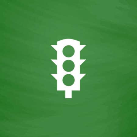 semaforo peatonal: Sem�foro simple. Icono plana. Imitaci�n dibujar con tiza blanca en la pizarra verde. Pictograma plano y fondo de la tarjeta de la escuela. ilustraci�n vectorial s�mbolo
