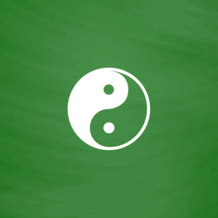 Ying-yang icon of harmony and balance. Flat Icon. Imitation draw with white chalk on green chalkboard. Flat Pictogram and School board background. Vector illustration symbol Illustration
