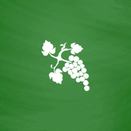 Bunch of grapes. Flat Icon. Imitation draw with white chalk on green chalkboard. Flat Pictogram and School board background. Vector illustration symbol