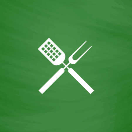 Barbecue utensils. Flat Icon. Imitation draw with white chalk on green chalkboard. Flat Pictogram and School board background. Vector illustration symbol