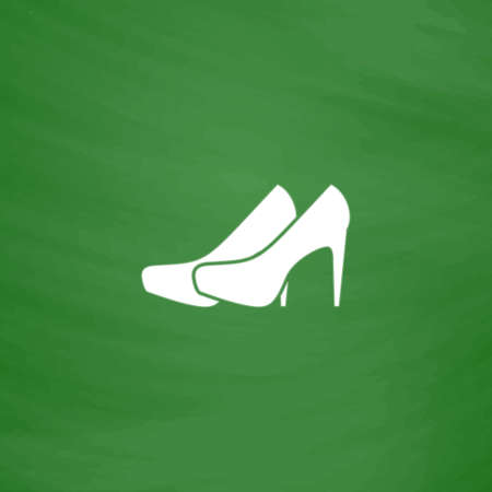 distinctive: Pair of shoes. Flat Icon. Imitation draw with white chalk on green chalkboard. Flat Pictogram and School board background. Vector illustration symbol