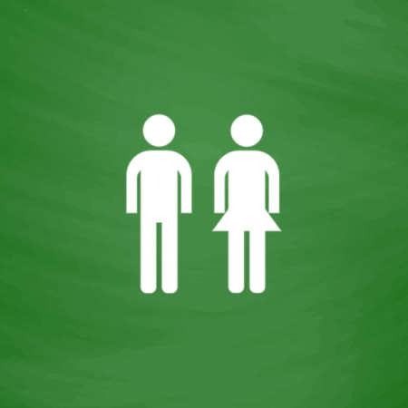 compliant: Simple man and woman. Flat Icon. Imitation draw with white chalk on green chalkboard. Flat Pictogram and School board background. Vector illustration symbol