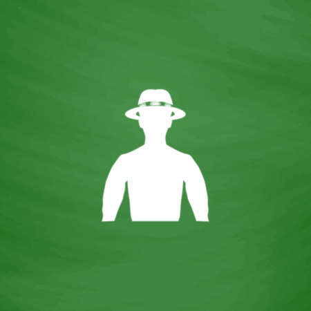 masculinity: Man with broad-brim. Flat Icon. Imitation draw with white chalk on green chalkboard. Flat Pictogram and School board background. Vector illustration symbol