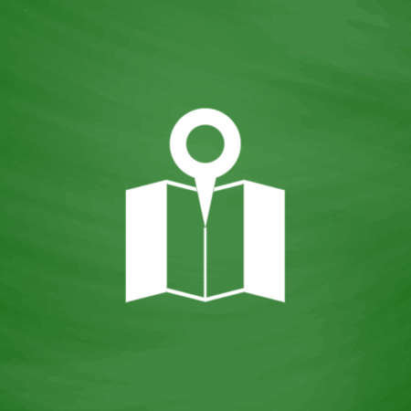 Simple Pin on the map. Flat Icon. Imitation draw with white chalk on green chalkboard. Flat Pictogram and School board background. Vector illustration symbol  イラスト・ベクター素材