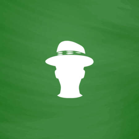 conservative: Man head with hat. Flat Icon. Imitation draw with white chalk on green chalkboard. Flat Pictogram and School board background. Vector illustration symbol