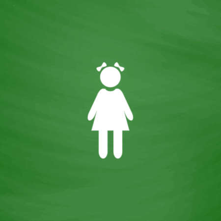 Girl with bows. Flat Icon. Imitation draw with white chalk on green chalkboard. Flat Pictogram and School board background. Vector illustration symbol Illustration