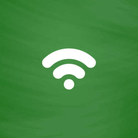 Simple Wifi network symbol. Flat Icon. Imitation draw with white chalk on green chalkboard. Flat Pictogram and School board background. Vector illustration symbol