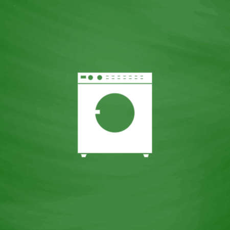 fully automatic: Washing machine. Flat Icon. Imitation draw with white chalk on green chalkboard. Flat Pictogram and School board background. Vector illustration symbol Illustration