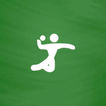 Volleyball player serving the ball. Flat Icon. Imitation draw with white chalk on green chalkboard. Flat Pictogram and School board background. Vector illustration symbol