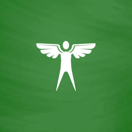 icarus: Winged man. Flat Icon. Imitation draw with white chalk on green chalkboard. Flat Pictogram and School board background. Vector illustration symbol