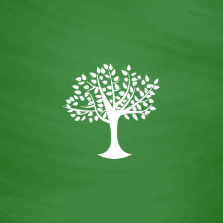 Decorative simple tree. Flat Icon. Imitation draw with white chalk on green chalkboard. Flat Pictogram and School board background. Vector illustration symbol