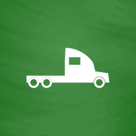 hauler: Truck without a trailer. Flat Icon. Imitation draw with white chalk on green chalkboard. Flat Pictogram and School board background. Vector illustration symbol