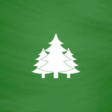 coppice: Tree, Christmas fir tree. Flat Icon. Imitation draw with white chalk on green chalkboard. Flat Pictogram and School board background. Vector illustration symbol