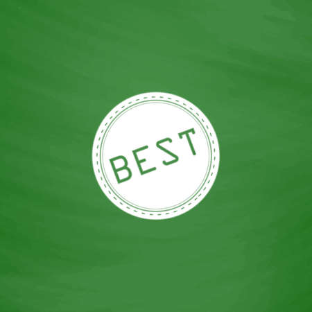 price uncertainty: Best  Badge, Label or Sticker. Flat Icon. Imitation draw with white chalk on green chalkboard. Flat Pictogram and School board background. Vector illustration symbol Illustration